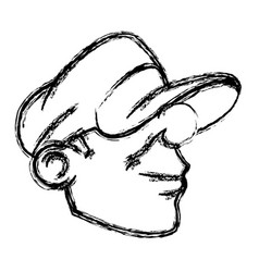 Cartoon young head guy graffiti sketch vector