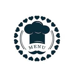 Chef hat with mustache logo vector