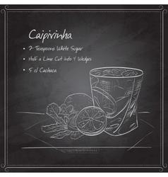Cocktail Caipirinha on black board vector image vector image