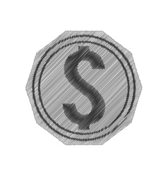 Coin money symbol isolated icon vector