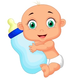 Cute baby cartoon holding milk bottle vector image
