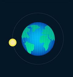 Earth planet with wireframe line and moon vector