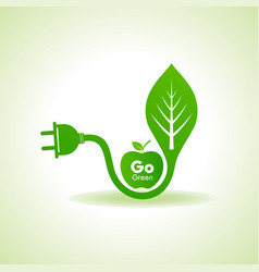Eco energy concept with leafplug and green apple vector