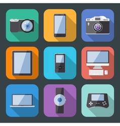 Flat Style Electronics Gadget Icon Set vector image