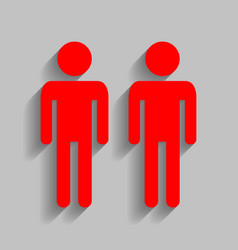 Gay family sign red icon with soft shadow vector