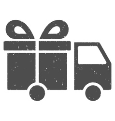 Gift delivery van icon rubber stamp vector