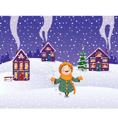 girl enjoys the snow vector image vector image