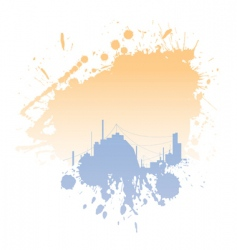 grungy blot with city silhouettes vector image vector image