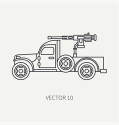 Line flat plain icon armed open body army vector