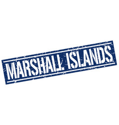 marshall islands blue square stamp vector image