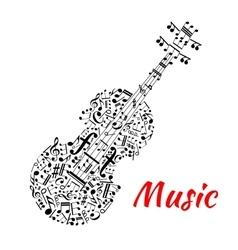 Musical notes and symbols shaped like a violin vector image vector image