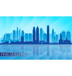 Philadelphia city skyline detailed silhouette vector