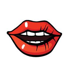 pop art style lips sticker vector image