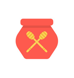 Red honey pot simple icon vector