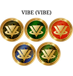 Set of physical golden coin vibe vibe vector