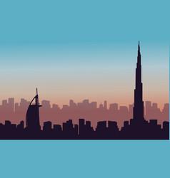 Silhouette of dubai building landscape vector