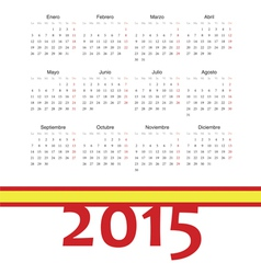 Simple spainish 2015 year calendar vector