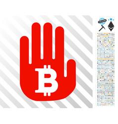 Stop hand bitcoin flat icon with bonus vector