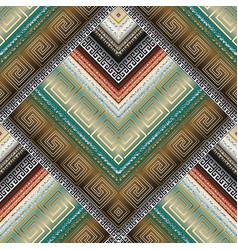 Striped tribal geometric seamless pattern greek vector