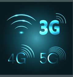 wi fi 3g 4g and 5g technology glow icon symbols vector image vector image