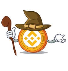 Witch binance coin mascot catoon vector