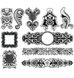 Woodprint floral decorative design elements vector