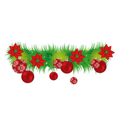 wreath with christmas flowers and red garlands vector image