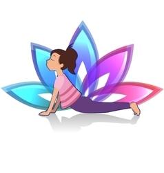 Yoga kid asana pose on lotus background vector