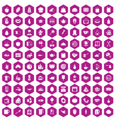 100 cooking icons hexagon violet vector