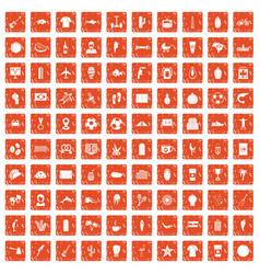 100 south america icons set grunge orange vector