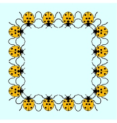 Square frame from flat ladybugs vector