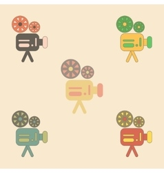 Old movie video camera vector