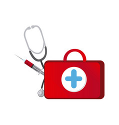 Red suitcase health with stethoscope and syringe vector