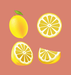 Lemon yellow fruit isolated set vector