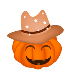 A happy halloween pumpkin in cowboy hat vector