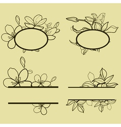 New flower set frame vector