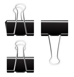 Black paper binder clip vector