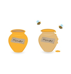 Cup of honey and flying bee vector