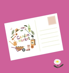 Post card garden market invitation vector