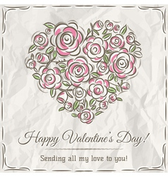 Valentine card with heart of flowers vector