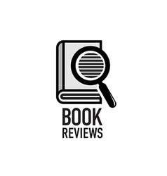 Book reviews service logo template search inside vector