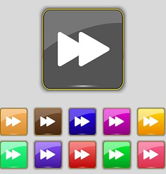 Rewind icon sign set with eleven colored buttons vector
