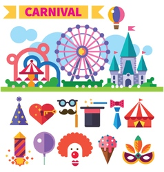 Carnival in amusement park vector