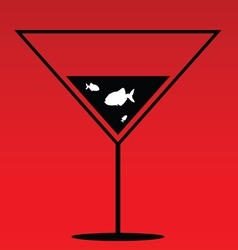 Fish in martini on red vector
