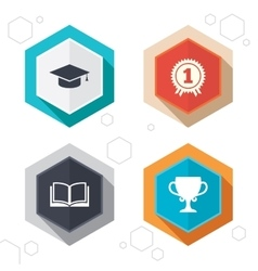 Graduation icons education book symbol vector