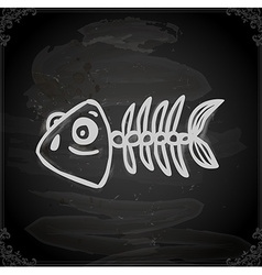 Hand drawn fish skeleton vector