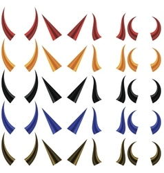 Set of different colorful horns vector