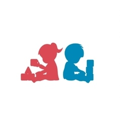 Children playing with toys brother and sister vector image