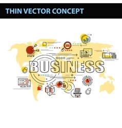 Thin line consept wit fkat business icons vector