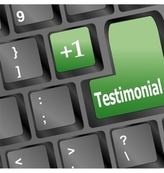 Testimonial word on keyboard key notebook vector